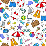 Seamless illustration  on the theme of summer holidays in hot countries, simple color icons on white background Stock Photography