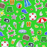 Seamless illustration  on the theme of summer holidays in hot countries, simple Colored icons stickers on a green background Royalty Free Stock Images