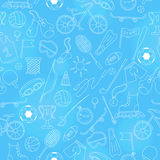 Seamless illustration on the theme of summer sports, simple icons bright outline on a blue  background. Seamless pattern on the theme of summer sports, simple Stock Photos