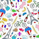 Seamless illustration on the theme of travel in the country of France, simple icons , colored signs on a light background. Seamless pattern on the theme of Royalty Free Stock Photography