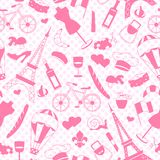 Seamless illustration  on the theme of travel in the country of France, simple icons ,a pink silhouettes of icons on the backgroun. Seamless pattern on the theme Royalty Free Stock Photo