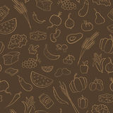 Seamless illustration on the theme of vegetarianism, grocery icons, beige contours on brown background Royalty Free Stock Photography