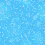 Seamless illustration on the theme of vegetarianism, grocery icons, simple contour icons are drawn with light contour on blue back Stock Images