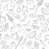 Seamless illustration on the theme of vegetarianism, grocery icons, simple outline black icons on a white background Stock Image