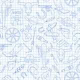 Seamless illustration  on the theme of the wild West, contour icons, blue  contour  icons on the clean writing-book sheet in a cag. Seamless pattern on the theme Stock Images
