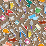 Seamless illustration on the topic of construction and repair , simple colored icons in the form of stickers on a brown background Royalty Free Stock Photography