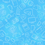 Seamless illustration  topic of household appliances, a light outline on a blue background Royalty Free Stock Photos