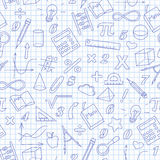 Seamless illustration of the topic of the math lesson in school. Seamless background with simple icons on the theme of mathematics and learning , dark blue Stock Photo
