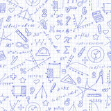 Seamless illustration of the topic of the math lesson in school. Seamless pattern with formulas and charts on the topic of mathematics and education,dark blue Royalty Free Stock Photos