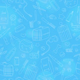 Seamless illustration on the topic of pet care, pet shop, simple contour icons, on a blue background is drawn with a light marker Royalty Free Stock Images