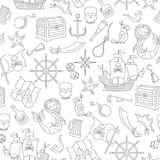 Seamless illustration of the topic of piracy and sea travel outline icons, black contour on white background stock illustration