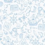 Seamless illustration of the topic of piracy and sea travel outline icons, blue contour icons on the clean writing-book sheet in stock illustration