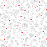 Seamless illustration  for Valentine`s day,simple contour icons and red hearts on a white background Stock Image