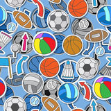 Seamless illustration of various sports balls, arrows and flags. Seamless pattern on the theme of summer sports, different sports balls ,arrows, and flags Stock Images