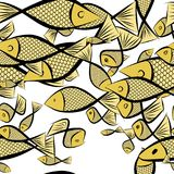Seamless illustrations of fish. Pattern, surface, shape & abstract. Seamless illustrations of fish. Good for web page, wallpaper, graphic design, catalog Royalty Free Stock Image