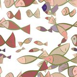 Seamless illustrations of fish. Texture, pattern, canvas & set. Seamless illustrations of fish. Good for web page, wallpaper, graphic design, catalog, texture Stock Images