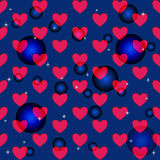Seamless illustrations with hearts and balloons. On a blue background with stars Stock Images
