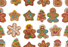 Seamless image of colorful gingerbread cookies Stock Photos