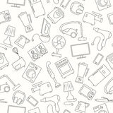 Seamless image with a simple contour icons for household appliances and electronics , dark outline on a light background Royalty Free Stock Photography