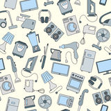Seamless image with simple icons on a theme of home appliances and electronics , colored figures on a light background. Seamless background with a simple  icons Royalty Free Stock Photo