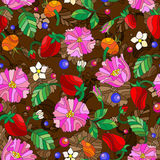 Seamless image  with spring flowers in stained glass style, flowers, buds and leaves of  rosehip and strawberry on a brown backgro Royalty Free Stock Photos
