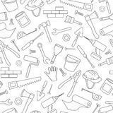 Seamless image on the topic of construction and repair, construction equipment, simple contour icons, black contour on white backg Stock Photography