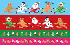 Santa and friends seamless image. royalty free illustration