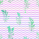 Seamless imprints pattern of the branched herbs. Royalty Free Stock Photo