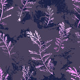 Seamless imprints pattern of the branched herbs. Stock Image