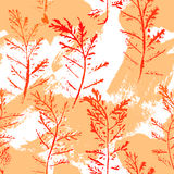Seamless imprints pattern of the branched herbs. Stock Photos