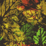 Seamless imprints pattern of the leafs. Grungy botanics stamp Stock Photography
