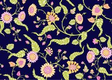 Free Seamless Indian Floral Ethnic Pattern Royalty Free Stock Photography - 164326797