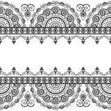 Seamless Indian mehndi border elements with flowers for cards and tattoo on white background. Royalty Free Stock Image