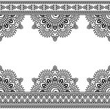 Seamless Indian Mehndi Pattern with floral border elements for card and tattoo on white background. Royalty Free Stock Photo