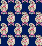 Seamless indian paisley with blue background vector illustration
