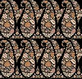 Seamless Indian paisley pattern with black background vector illustration