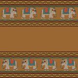 Indian pattern with elephant. Seamless indian pattern with elephant royalty free illustration