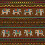 Indian pattern with elephant. Seamless indian pattern with elephant Royalty Free Stock Images