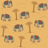 Indian pattern with elephant. Seamless indian pattern with elephant Royalty Free Stock Image