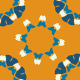 Seamless indian pattern on orange background. Abstract vector tribal ethnic yoga yantra seamless pattern. Ethnic floral Royalty Free Stock Images