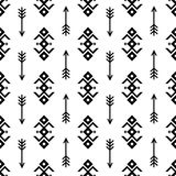 Seamless Indian pattern vector arrows and USA Native American type geometric ornaments black and white background design retro vin Stock Photo