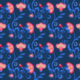 Seamless indian tribal vector pattern with oriental flowers Royalty Free Stock Photo
