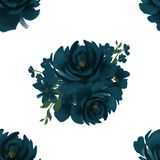 Seamless Indigo Navy deep blue pattern floral pattern for wallpaper or fabric or card royalty free illustration