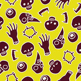 Seamless infinite background with scull bones and eyes Stock Photography