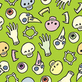 Seamless infinite background with scull bones and eyes Royalty Free Stock Photos
