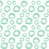 Seamless ink brush painted pattern with blue circle. S. Vector illustration. Pastel colors pattern. Can be used for tags, flyers, banners, web, print, textile Royalty Free Stock Photo