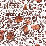 Seamless ink doodle coffee pattern on white background with watercolor stains, hand drawn vector illustration Stock Photography