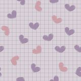 Seamless with ink painted hearts on a sheet of not Royalty Free Stock Photography