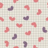 Seamless with ink painted hearts on a sheet of not Royalty Free Stock Photos
