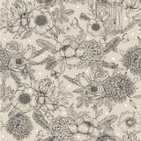 Seamless inked floral pattern. Vector beautiful background Royalty Free Stock Photos